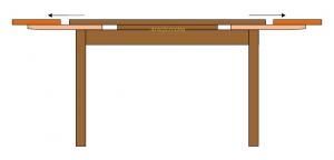 Table avec allonges laquée 120-200 cm
