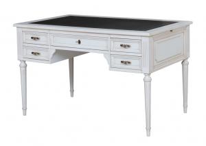 Schreibtisch weiß mit Lederplatte