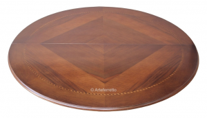 Table ronde diamètre 120 cm marquetée