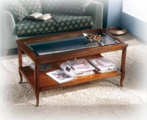 Table basse classique plateau en cristal