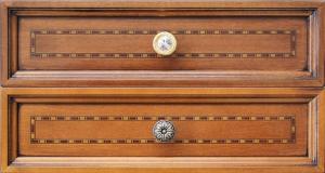 Schreibtisch mit Intarsie 2 Schubkästen