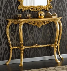 Console sculptée sur bois en feuille d'or
