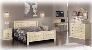 Doppelbett Antik Effekt aus Holz