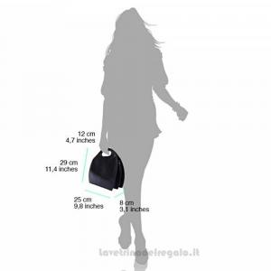 Borsa semiovale Nera a Mano con tracolla in pelle - Samantha - Pelletteria Fiorentina