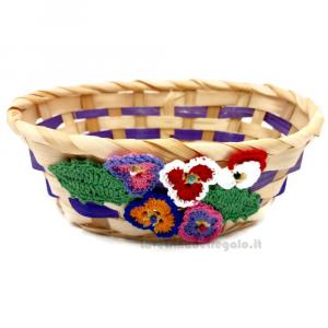Cestino in bambù viola con fiori ad uncinetto 6 cm H - Italy