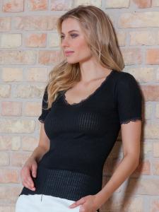 Maglia donna in lana manica corta scollo tondo su tessuto a costina EGI