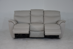 AMIAS - Divano relax in pelle grigio scuro a 3 posti di cui 2 con meccanismi recliner elettrici