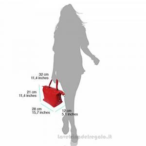 Borsa Rosa a Mano con tracolla in pelle - Pia - Pelletteria Fiorentina