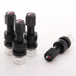 Set of Aluminum air valves JR v2 - BLACK + logo