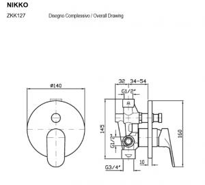 ZKK127 - R99684 Zucchetti Nikko Miscelatore vasca-doccia incasso