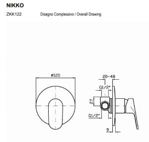 ZKK122-R99499 Zucchetti  Nikko Miscelatore doccia incasso