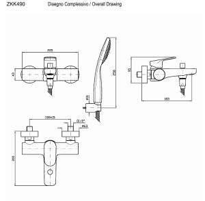 Miscelatore vasca esterno Zucchetti Nikko ZKK490