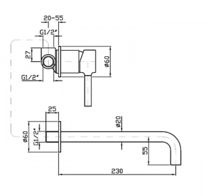 Miscelatore Lavabo a parete Zucchetti Pan zp6030-r99499