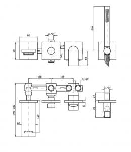 ZHI451-R97913 MISCELATORE VASCA DOCCIA HIM