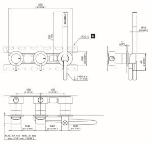 MIL43WS Gruppo 2 miscelatori a parete per vasca/doccia con doccetta CEA DESIGN