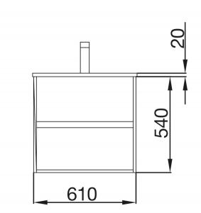 Mobile lavabo da 61cm con 2 cassetti in rovere chiaro mod. Nori