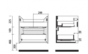 Mobile lavabo da 71cm con 2 cassetti rovere scuro mod. Nori