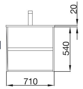 Mobile lavabo da 71cm con 2 cassetti bianco lucido mod. Nori