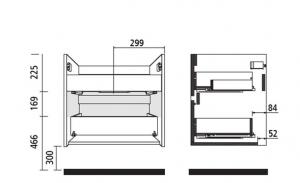 Mobile lavabo da 71cm con 2 cassetti in rovere chiaro mod. Nori