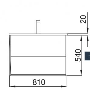 Mobile lavabo da 81cm con 2 cassetti grigio opaco mod. Nori