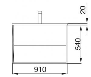 Mobile lavabo da 91cm con 2 cassetti rovere scuro mod. Nori