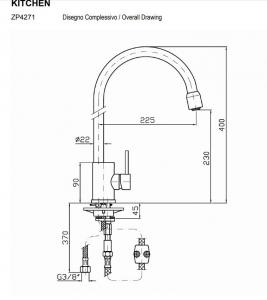 Miscelatore cucina con bocca estraibile art. ZP4271