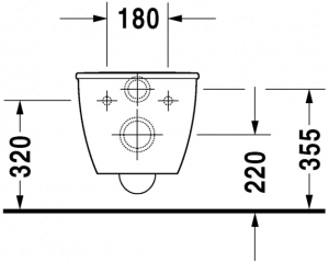 Darling New Vaso sospeso Duravit Rimless® Cod. Art. 255709