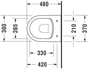 ME by Starck Vaso sospeso Compact Duravit Rimless® Cod. Art. 253009