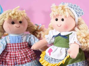 Set 8 bambole medie 28 cm in stoffa imbottita