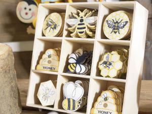 144 decorazioni Miele in legno con biadesivo