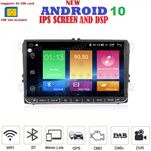 ANDROID 10 autoradio navigatore per Golf 5, Golf 6, Passat, Tiguan, Jetta, Polo, Touran, Caddy, Scirocco GPS WI-FI Bluetooth MirrorLink Car-Play 4G LTE