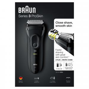 Braun Series 3 ProSkin 3020s Rasoio Elettrico, Nero