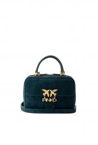 Tracolla mini square bag seventies in suede e pelle Pinko