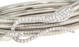 Bracciale  tubogas con chiusura in oro bianco e diamanti