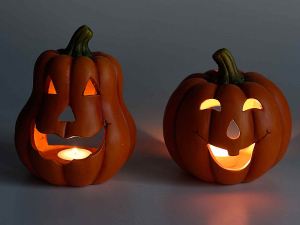 Set quattro porta candele tealight zucca Halloween