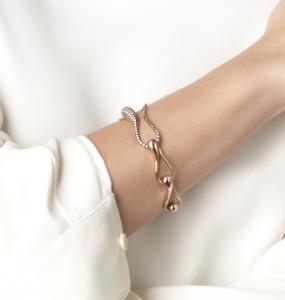 Bracciale catena in oro bianco e diamanti