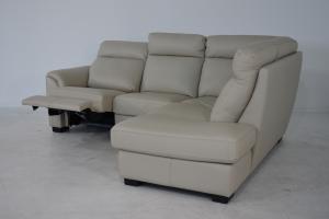 LANCE - Divano relax angolare in pelle 4 posti con movimento elettrico