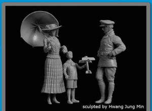 Lady with Umbrella + Boy with Airplane + British Pilot WWI