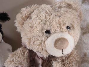 Coppia di coperte con orsetto in peluche e cuore rosso