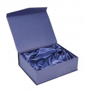 Scatola blu a libro con interno in raso cm.11,5x11,5x3h
