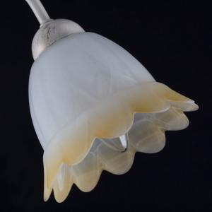 Tazza campanula con punte paralume ricambio lampadario vetro effetto alabastro sfumato bianco ambra.