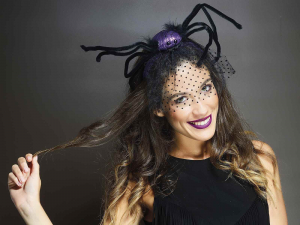Set 6 cerchietti Halloween con veletta e ragno