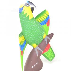 Oggetto Pappagallo Venezuelano In Legno Dipinto A Mano