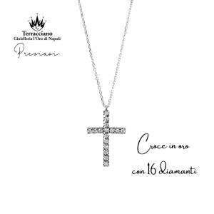 Croce in oro con 16 Diamanti