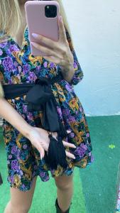 Vestito Corto Vicolo in fantasia con cintura nappine