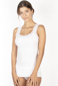 Canotta in cotone a costina spallina larga in pizzo BASIC COTTON