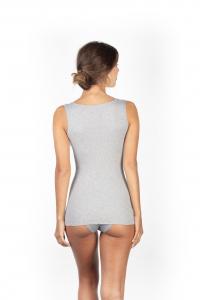Canotta donna cotone a costina spalla larga bordo plissé BASIC COTTON