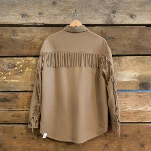 Giacca T-Coat In Lana Con Frange Cammello