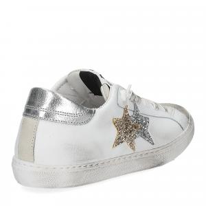 2Star 2817 sneaker bianco glitter oro-5