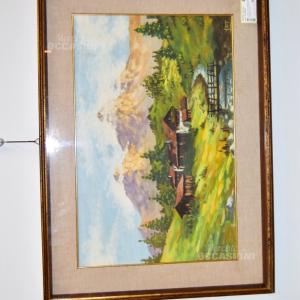 Quadro Dipinto Raffigurante Paesaggio Di Montagna 74*54 Cm Autore VAT T